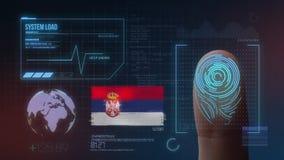Система опознавания отпечатка пальцев биометрическая просматривая Национальность Сербии стоковые изображения rf