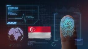 Система опознавания отпечатка пальцев биометрическая просматривая Национальность Сингапура стоковое изображение rf