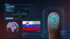 Система опознавания отпечатка пальцев биометрическая просматривая Национальность Словении стоковое фото