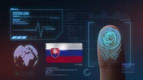 Система опознавания отпечатка пальцев биометрическая просматривая Национальность Словакии стоковые изображения