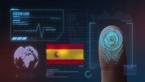 Система опознавания отпечатка пальцев биометрическая просматривая Национальность Испании стоковая фотография rf
