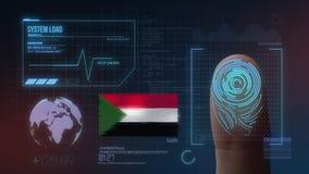 Система опознавания отпечатка пальцев биометрическая просматривая Национальность Судана стоковые фотографии rf