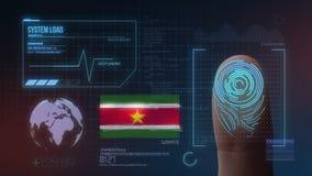 Система опознавания отпечатка пальцев биометрическая просматривая Национальность Суринама стоковые фотографии rf