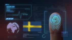 Система опознавания отпечатка пальцев биометрическая просматривая Национальность Швеции стоковое изображение rf