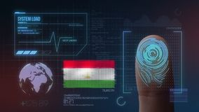 Система опознавания отпечатка пальцев биометрическая просматривая Национальность Таджикистана стоковые фотографии rf