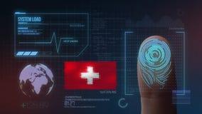Система опознавания отпечатка пальцев биометрическая просматривая Национальность Швейцарии стоковые изображения rf