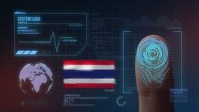 Система опознавания отпечатка пальцев биометрическая просматривая Национальность Таиланда стоковое фото rf