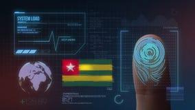Система опознавания отпечатка пальцев биометрическая просматривая Национальность Того стоковое фото rf