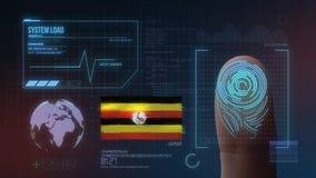 Система опознавания отпечатка пальцев биометрическая просматривая Национальность Уганды стоковые фотографии rf