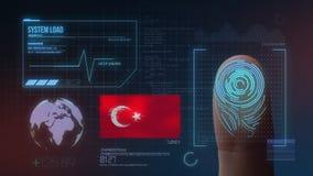 Система опознавания отпечатка пальцев биометрическая просматривая Национальность Турции стоковое фото
