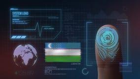 Система опознавания отпечатка пальцев биометрическая просматривая Национальность Узбекистана стоковое фото