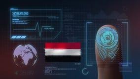 Система опознавания отпечатка пальцев биометрическая просматривая Национальность Йемен стоковое изображение