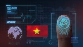 Система опознавания отпечатка пальцев биометрическая просматривая Национальность Вьетнама стоковое фото rf