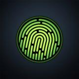 Система опознавания отпечатка пальцев, с зеленым цветом Стоковые Фото