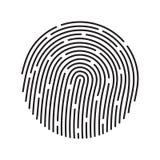 Система опознавания отпечатка пальцев, черный символ Стоковая Фотография RF