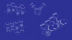 Система поршеня чертежа Стоковое Фото