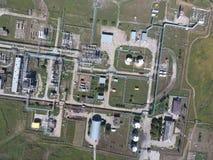Система разъединения, взгляд сверху Разъединение и обезвоживание станции Aerophotographing Стоковое Изображение RF