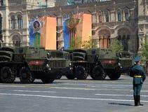 Система ракетной установки Smerch множественная на красной площади во время военного парада предназначенного к дню победы Стоковые Изображения