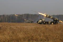 Система ракеты старта BM-30 SmerchMultiple стоковые фото