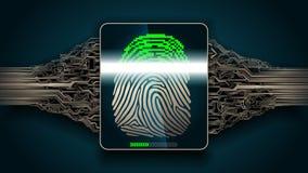 Система скеннирования отпечатка пальцев - биометрической безопасности цифровой Стоковое Изображение