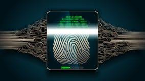 Система скеннирования отпечатка пальцев - биометрической безопасности цифровой Стоковое Фото