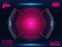 Система цели Современная направляя концепция Футуристический интерфейс HUD с яркими infographic элементами Шаблон перекрестия ору бесплатная иллюстрация