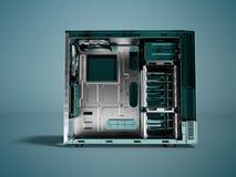Системный блок для перевода фронта 3d медного штейна пробела компьютера дальше иллюстрация вектора
