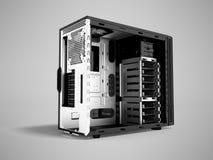 Системный блок металла пустого 3d черноты персонального компьютера представляет o иллюстрация вектора