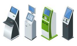 Системы платежей равновеликого вектора комплекта онлайн и стержни оплат самообслуживания, кредитная карточка дебита и получение н Стоковые Изображения RF