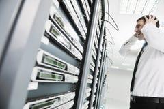 Ситуация терпеть неудачу системы в комнате сервера сети Стоковые Изображения