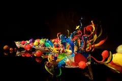 СИЭТЛ, ВАШИНГТОН, США - 23-ье января 2017: Выдувное стекло в абстрактных формах, Ikebana и экспонате шлюпки поплавка американцем Стоковое фото RF