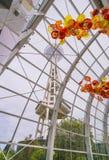 СИЭТЛ - 26-ое апреля 2016: Выдувное стекло в абстрактных формах в красном цвете Стоковое Изображение