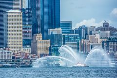 Сиэтл Citycape с fireboat Стоковые Изображения RF