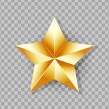 Сияющая звезда золота изолированная на прозрачной предпосылке Стоковая Фотография