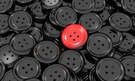 Сияющая кнопка одевает в черное и красное одном Стоковые Изображения RF