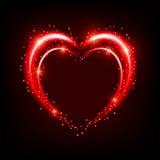Сияющая предпосылка с сердцем Стоковое Изображение RF