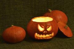 Сияющая тыква хеллоуина ужаса Стоковое фото RF