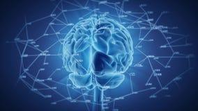 Сияющее вращение человеческого мозга, цифровая сеть иллюстрация штока