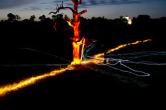 Сияющее дерево и часовня в темноте Стоковое Фото