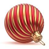 Сияющее Новогодней ночи украшения шарика рождества красное золотое Стоковая Фотография RF