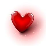 Сияющее сердце красного цвета вектора 3d Стоковое фото RF