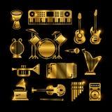 Сияющие золотые классические аппаратуры музыки, силуэты vector значки иллюстрация штока