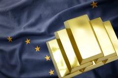 Сияющие золотые миллиарды на национальном флаге Аляски стоковая фотография