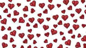 Сияющие красные сердца отражая на белой предпосылке видеоматериал