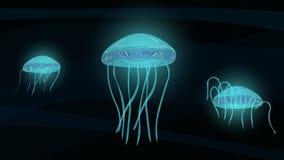 Сияющие медузы глубоко в море Стоковое Фото