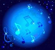 Сияющие музыкальные примечания на накаляя предпосылке с луной Стоковые Фото