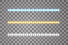 Сияющие нашивки приведенные вектора, неоновое освещение на прозрачно бесплатная иллюстрация