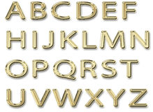 Сияющие прописные буквы алфавита золота Стоковое Изображение