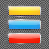 Сияющие прямоугольные знамена или кнопки сети Стоковое фото RF