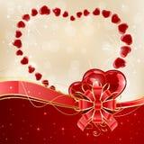 Сияющие сердца и красный смычок иллюстрация вектора